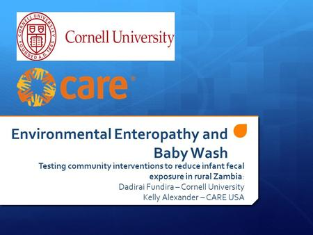 Environmental Enteropathy and Baby Wash Testing community interventions to reduce infant fecal exposure in rural Zambia: Dadirai Fundira – Cornell University.