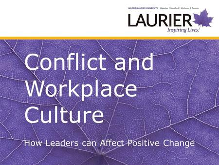 Conflict and Workplace Culture How Leaders can Affect Positive Change.