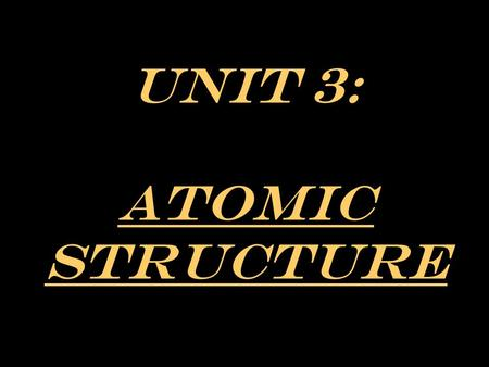 Unit 3: Atomic Structure. A. Subatomic Particles Most of the atom's mass (Mass Number) NUCLEUS ELECTRON CLOUD PROTONS NEUTRONS ELECTRONS POSITIVE CHARGE.