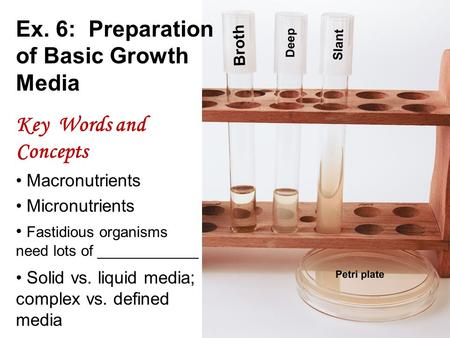 Ex. 6: Preparation of Basic Growth Media Key Words and Concepts Macronutrients Micronutrients Fastidious organisms need lots of ____________ Solid vs.