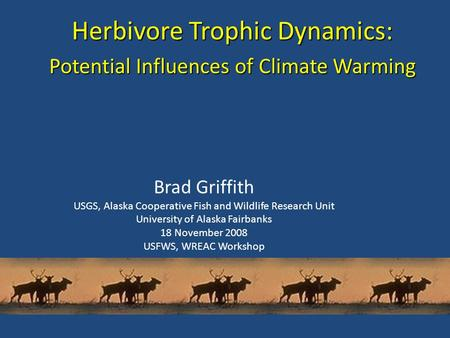 Herbivore Trophic Dynamics: Potential Influences of Climate Warming Brad Griffith USGS, Alaska Cooperative Fish and Wildlife Research Unit University of.