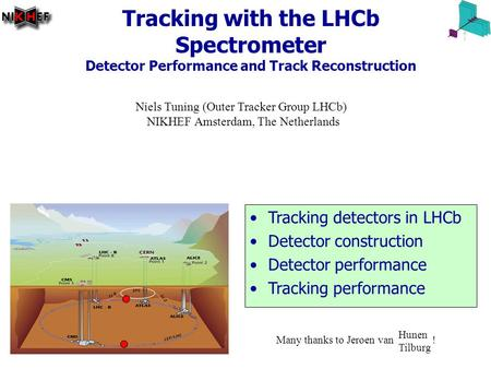 26 June 2006Imaging2006, Stockholm, Niels Tuning 1/18 Tracking with the LHCb Spectrometer Detector Performance and Track Reconstruction Niels Tuning (Outer.