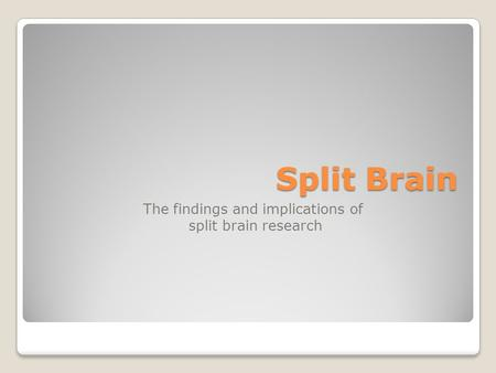 Split Brain The findings and implications of split brain research.