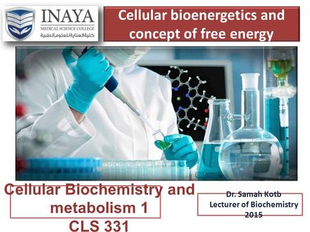 Cellular bioenergetics and concept of free energy Dr. Samah Kotb Lecturer of Biochemistry 2015 Cellular Biochemistry and metabolism 1 CLS 331.
