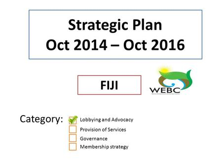 Strategic Plan Oct 2014 – Oct 2016 FIJI Category: Lobbying and Advocacy Provision of Services Governance Membership strategy.