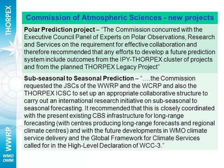 "WWRP Commission of Atmospheric Sciences - new projects Polar Prediction project – ""The Commission concurred with the Executive Council Panel of Experts."