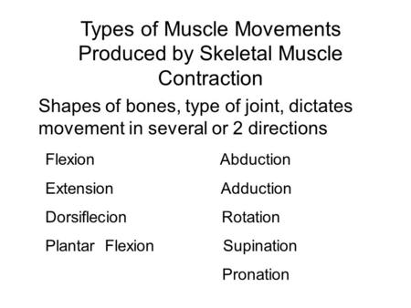 Types of Muscle Movements Produced by Skeletal Muscle Contraction Shapes of bones, type of joint, dictates movement in several or 2 directions Flexion.