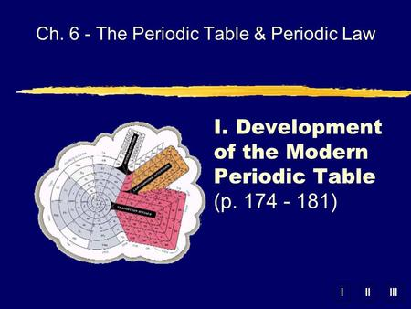 IIIIII Ch. 6 - The Periodic Table & Periodic Law I. Development of the Modern Periodic Table (p. 174 - 181)