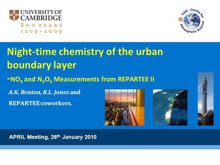 Night-time chemistry of the urban boundary layer - NO 3 and N 2 O 5 Measurements from REPARTEE II A.K. Benton, R.L. Jones and REPARTEE coworkers. APRIL.