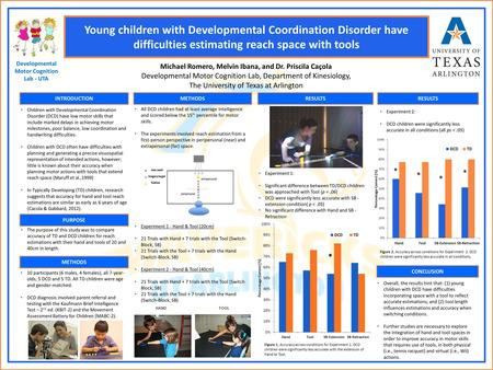 Young children with Developmental Coordination Disorder have difficulties estimating reach space with tools Michael Romero, Melvin Ibana, and Dr. Priscila.