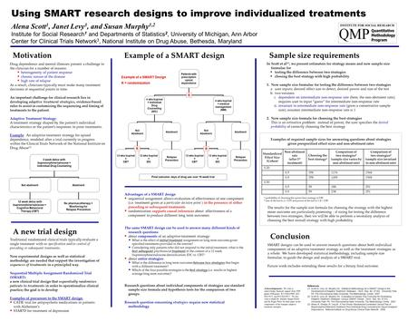 Motivation Using SMART research designs to improve individualized treatments Alena Scott 1, Janet Levy 3, and Susan Murphy 1,2 Institute for Social Research.