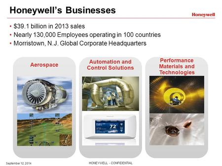 HONEYWELL - CONFIDENTIAL September 12, 2014 Honeywell's Businesses $39.1 billion in 2013 sales Nearly 130,000 Employees operating in 100 countries Morristown,