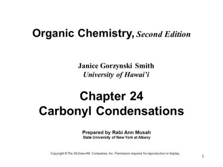 Chapter 24 Carbonyl Condensations