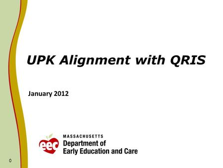 0 UPK Alignment with QRIS January 2012. UPK Policy Objectives Implemented in FY11 and FY12 For FY11 and FY12, the following policy objectives were implemented.