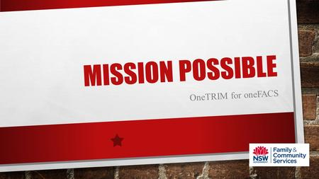 MISSION POSSIBLE OneTRIM for oneFACS. MISSION CONTENTS Situation Vision Plan Mission Tools Execution MiniApp Tour Reporting Real Time Mission success.