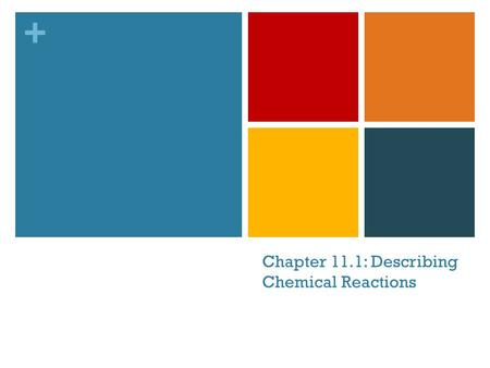 + Chapter 11.1: Describing Chemical Reactions. + Quickwrite Write down everything you already know about chemical reactions. 1:30 minutes.