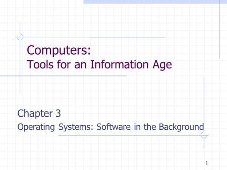 1 Computers: Tools for an Information Age Chapter 3 Operating Systems: Software in the Background.