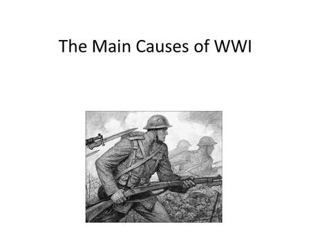The Main Causes of WWI. MAIN Militarism Alliances Imperialism Nationalism.