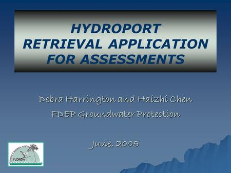 Debra Harrington and Haizhi Chen FDEP Groundwater Protection June, 2005 HYDROPORT RETRIEVAL APPLICATION FOR ASSESSMENTS.