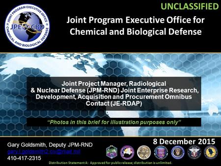 Joint Program Executive Office for Chemical and Biological Defense 8 December 2015 UNCLASSIFIED Joint Project Manager, Radiological & Nuclear Defense (JPM-RND)