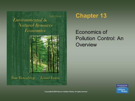 Copyright © 2009 Pearson Addison-Wesley. All rights reserved. Chapter 13 Economics of Pollution Control: An Overview.