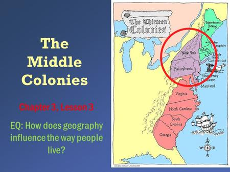 The Middle Colonies Chapter 3, Lesson 3 EQ: How does geography influence the way people live?
