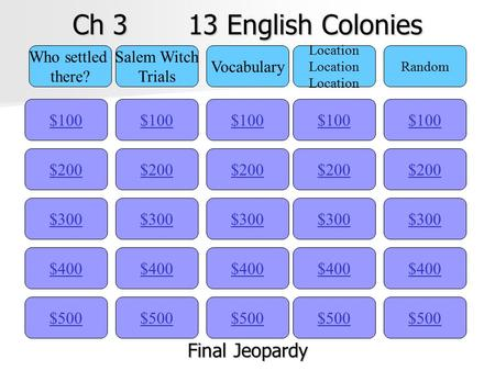Ch 3 13 English Colonies $100 Who settled there? Salem Witch Trials Vocabulary Location Random $200 $300 $400 $500 $400 $300 $200 $100 $500 $400 $300.
