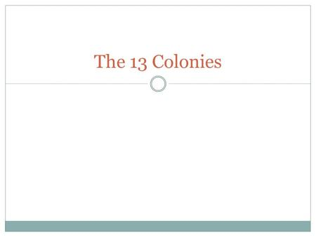 The 13 Colonies. What is a Colony? 1. A body of people who settle far from home but maintain ties with their homeland. 2. Think of it as an apartment.
