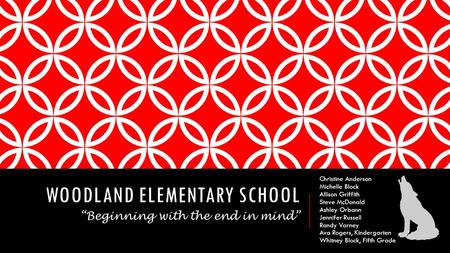 WOODLAND ELEMENTARY SCHOOL Christine Anderson Michelle Block Allison Griffith Steve McDonald Ashley Orbann Jennifer Russell Randy Varney Ava Rogers, Kindergarten.