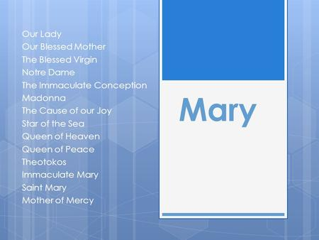 Mary Our Lady Our Blessed Mother The Blessed Virgin Notre Dame The Immaculate Conception Madonna The Cause of our Joy Star of the Sea Queen of Heaven Queen.