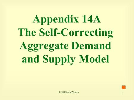 1 Appendix 14A The Self-Correcting Aggregate Demand and Supply Model ©2004 South-Western.