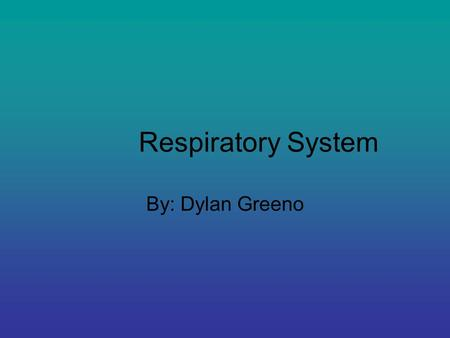 Respiratory System By: Dylan Greeno. Function of System Brings air to body.