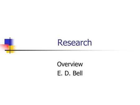 Research Overview E. D. Bell. Introduction In the beginning of your program of study, you read about the role of research in educational psychology (Slavin,