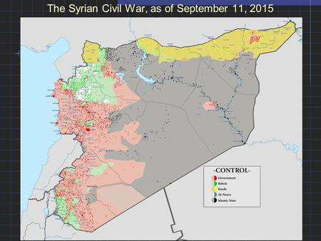 The Syrian Civil War, as of September 11, 2015. The Partition of Africa: The Marginal European presence in 1878 and the colonial empires of 1914.