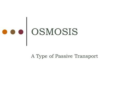 OSMOSIS A Type of Passive Transport. Definition WATER WATER WATER Osmosis —The diffusion of WATER from an area of high WATER concentration to an area.