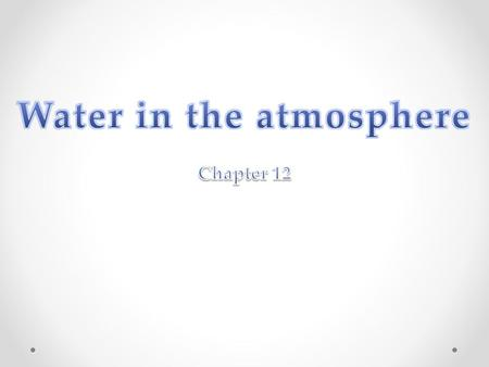 Water in the atmosphere Chapter 12 What is water vapour? Water vapour is a gas. The amount of water vapour in the air is called Humidity. The highest.