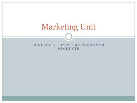 Concept 4 – Types of Consumer Products