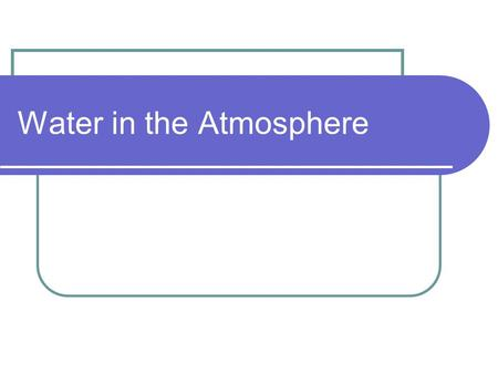 Water in the Atmosphere. The movement of water between the atmosphere and Earth's surface is called the WATER CYCLE. Water enters the atmosphere by EVAPORATION.