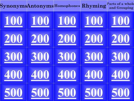 100 Parts of a whole and Grouping RhymingAntonyms Homophones Synonyms 100 200 300 400 500 200 300 400 500.