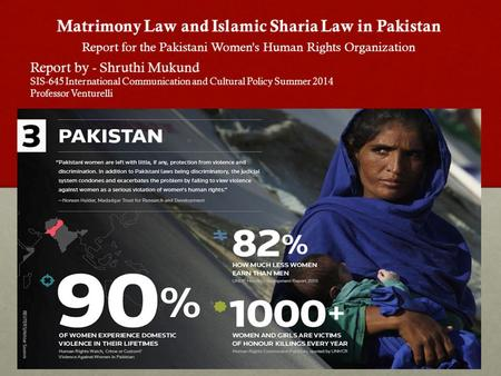 Matrimony Law and Islamic Sharia Law in Pakistan Report for the Pakistani Women's Human Rights Organization Report by - Shruthi Mukund SIS-645 International.