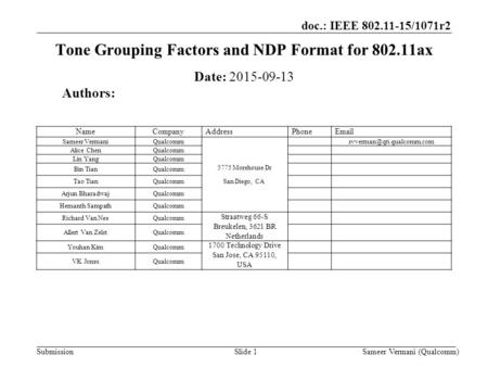 Tone Grouping Factors and NDP Format for ax