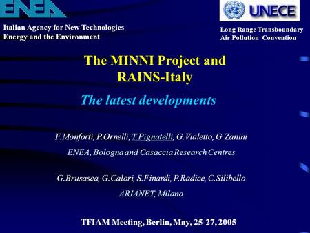 The MINNI Project and RAINS-Italy Italian Agency for New Technologies Energy and the Environment Long Range Transboundary Air Pollution Convention TFIAM.