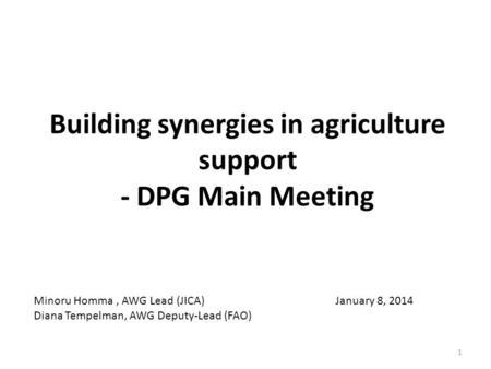 Building synergies in agriculture support - DPG Main Meeting January 8, 2014 Minoru Homma, AWG Lead (JICA) Diana Tempelman, AWG Deputy-Lead (FAO) 1.