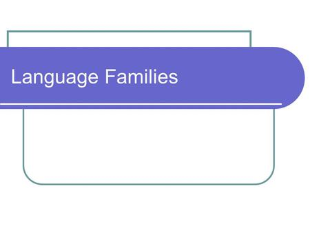 Language Families. Why is English related to Other Languages? English = Indo-European language family A language family- a collection of langs related.