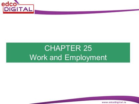 CHAPTER 25 Work and Employment. 2 R. Delaney Work and Employment Work is any activity that requires effort Digging up my own back garden is work Employment.