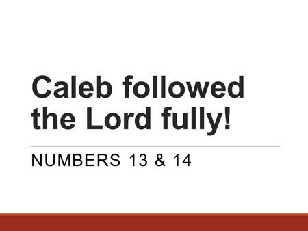 Caleb followed the Lord fully! NUMBERS 13 & 14. The events wherein Caleb proves himself worthy of God 12 men sent to spy out the land of Canaan (13:1-2)