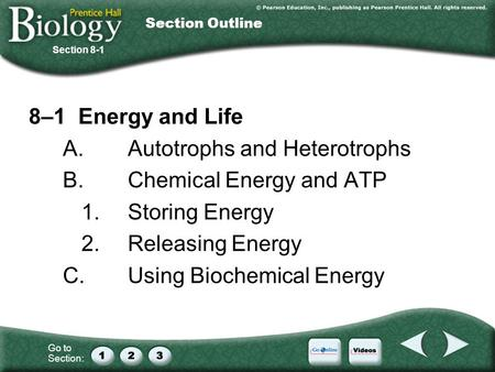 Go to Section: 8–1 Energy and Life A.Autotrophs and Heterotrophs B.Chemical Energy and ATP 1.Storing Energy 2.Releasing Energy C.Using Biochemical Energy.