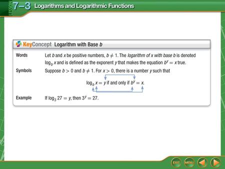 Concept. Example 1 Logarithmic to Exponential Form A. Write log 3 9 = 2 in exponential form. Answer: 9 = 3 2 log 3 9 = 2 → 9 = 3 2.