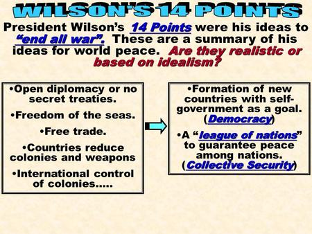 "WILSON'S 14 POINTS President Wilson's 14 Points were his ideas to ""end all war"". These are a summary of his ideas for world peace. Are they realistic."