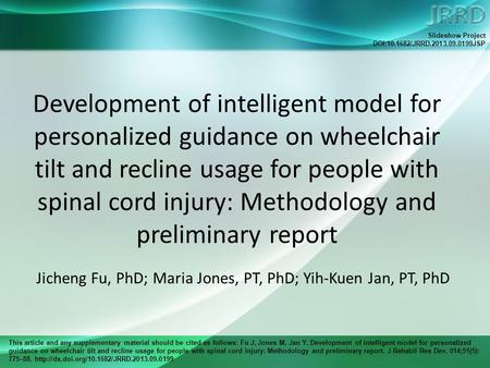 This article and any supplementary material should be cited as follows: Fu J, Jones M, Jan Y. Development of intelligent model for personalized guidance.